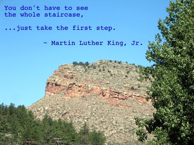 You don't have to see the whole staircase, just take the first step, MLK