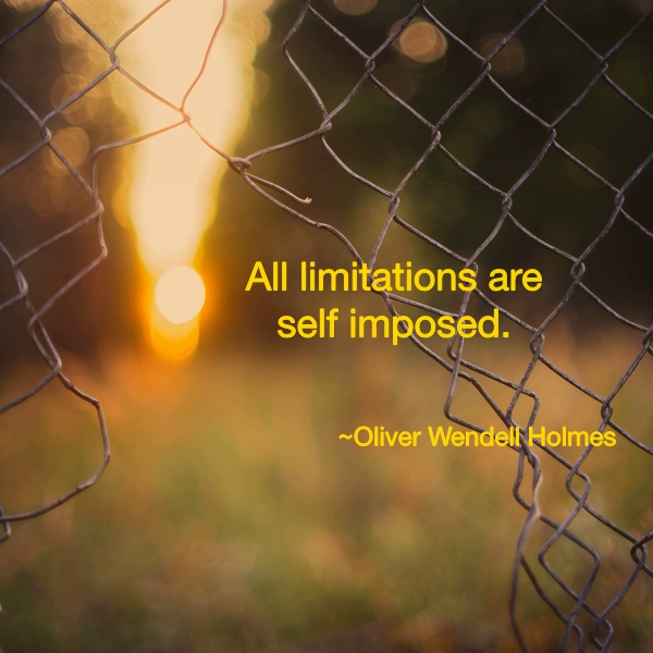 All limitations are self-imposed ~ Oliver Wendell Holmes
