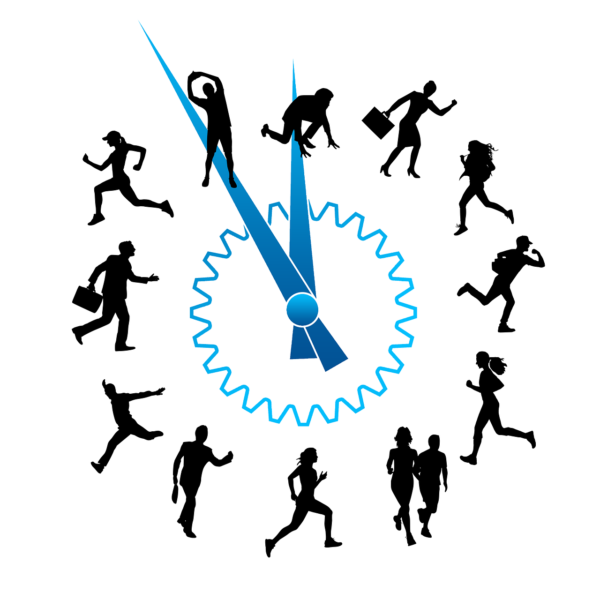 clock with people rushing