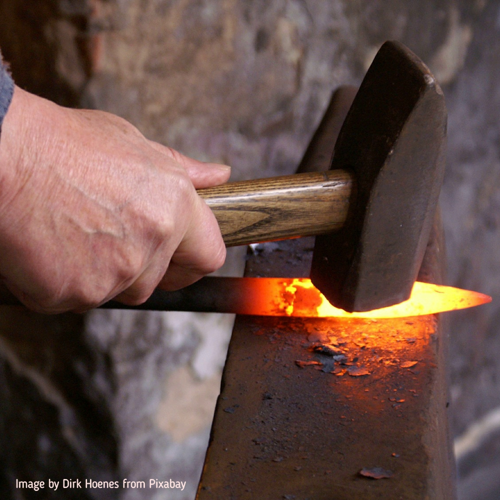 knife blade in the forge
